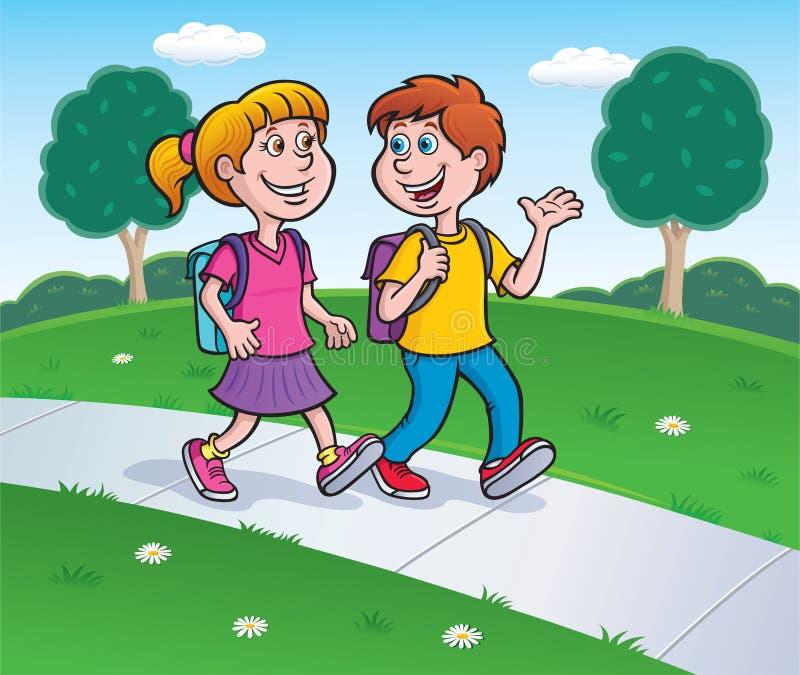 Κορίτσι και αγόρι που περπατούν από το σχολείο με τα σακίδια πλάτης ελεύθερη απεικόνιση δικαιώματος