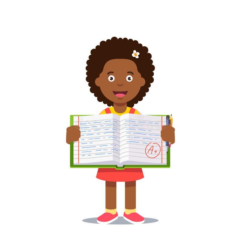 Κορίτσι και ανοικτό βιβλίο εργασίας με το βαθμό Α απεικόνιση αποθεμάτων