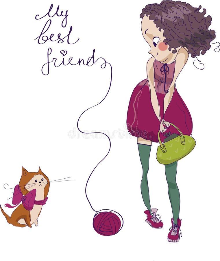 Κορίτσι και γάτα απεικόνιση αποθεμάτων