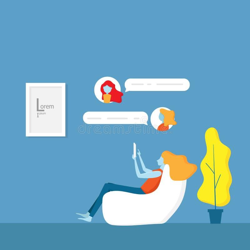 Κορίτσι και εφαρμογή συνομιλίας με τους φίλους της απεικόνιση αποθεμάτων