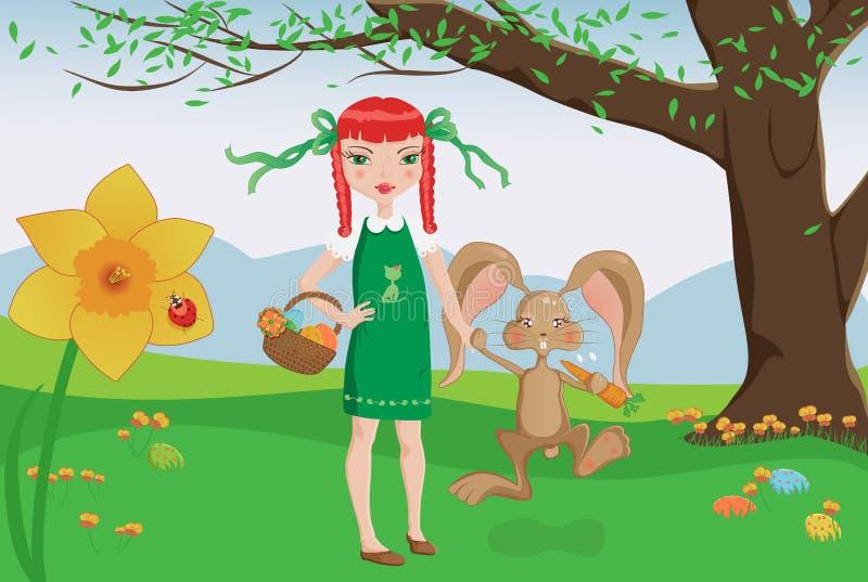 Κορίτσι και εύθυμο λαγουδάκι στο κυνήγι αυγών Πάσχας διανυσματική απεικόνιση