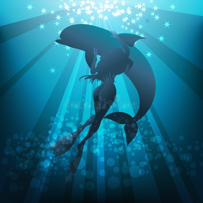 Κορίτσι και δελφίνι διανυσματική απεικόνιση