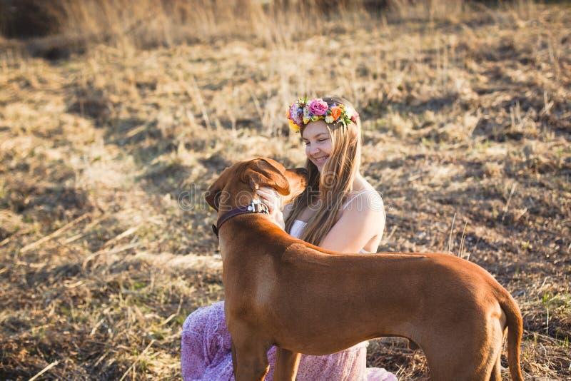 Κορίτσι και καφετί σκυλί στοκ εικόνες με δικαίωμα ελεύθερης χρήσης