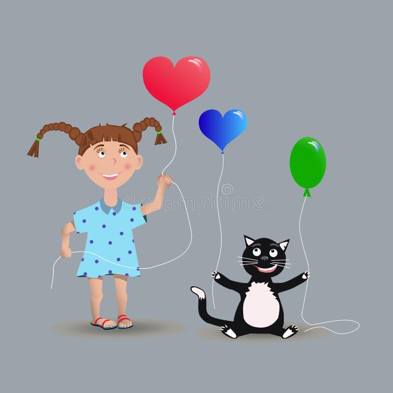 Κορίτσι και μια γάτα με τα μπαλόνια στοκ εικόνα με δικαίωμα ελεύθερης χρήσης