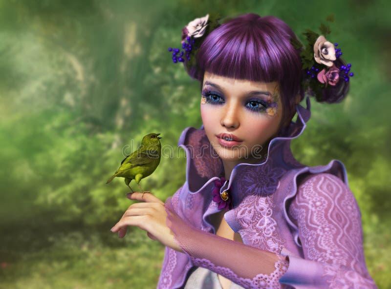 Κορίτσι και πράσινο πουλί, τρισδιάστατο CG ελεύθερη απεικόνιση δικαιώματος
