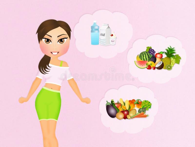 Κορίτσι και υγιή τρόφιμα απεικόνιση αποθεμάτων