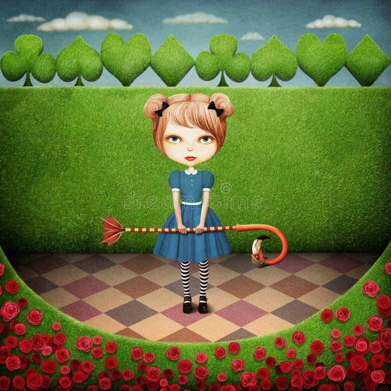 Κορίτσι και φλαμίγκο απεικόνιση αποθεμάτων