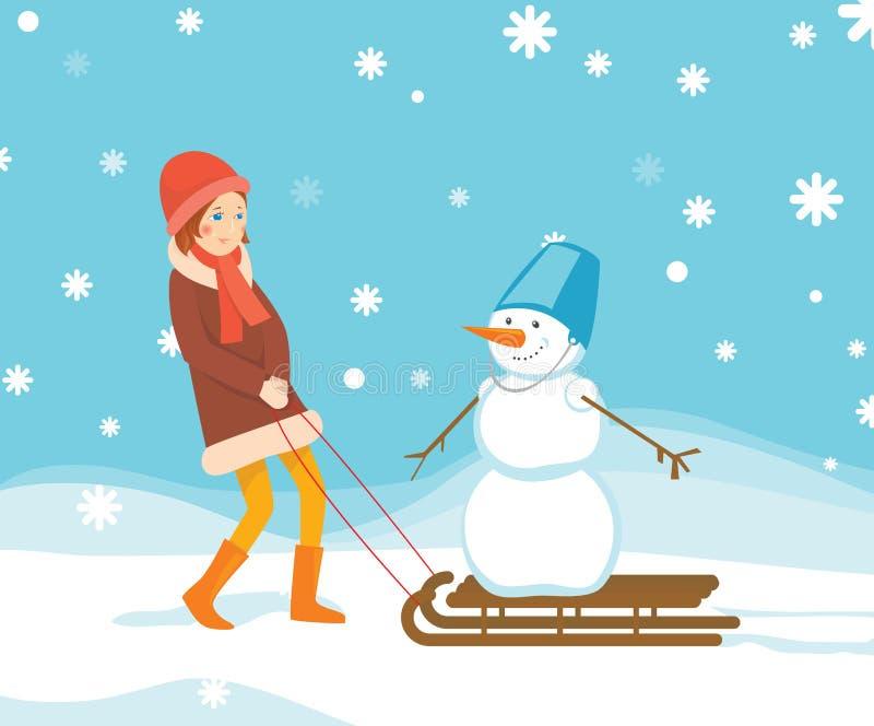 Κορίτσι και χιονάνθρωπος διανυσματική απεικόνιση