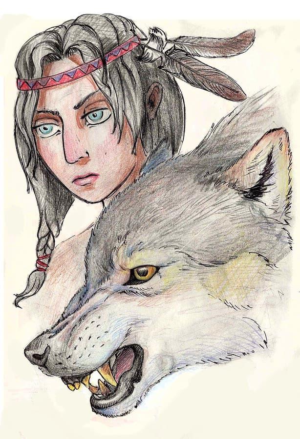 Κορίτσι και λύκος διανυσματική απεικόνιση