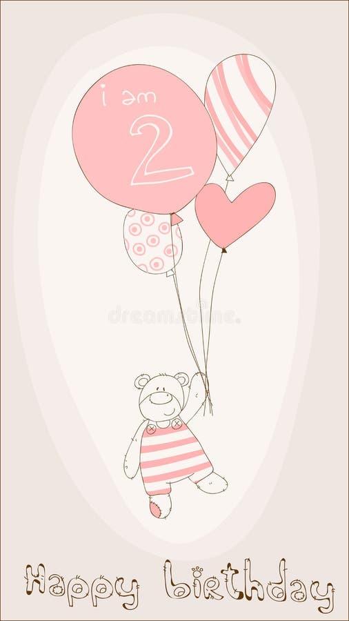 κορίτσι καρτών γενεθλίων &m απεικόνιση αποθεμάτων