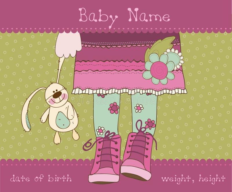 κορίτσι καρτών μωρών άφιξης α διανυσματική απεικόνιση