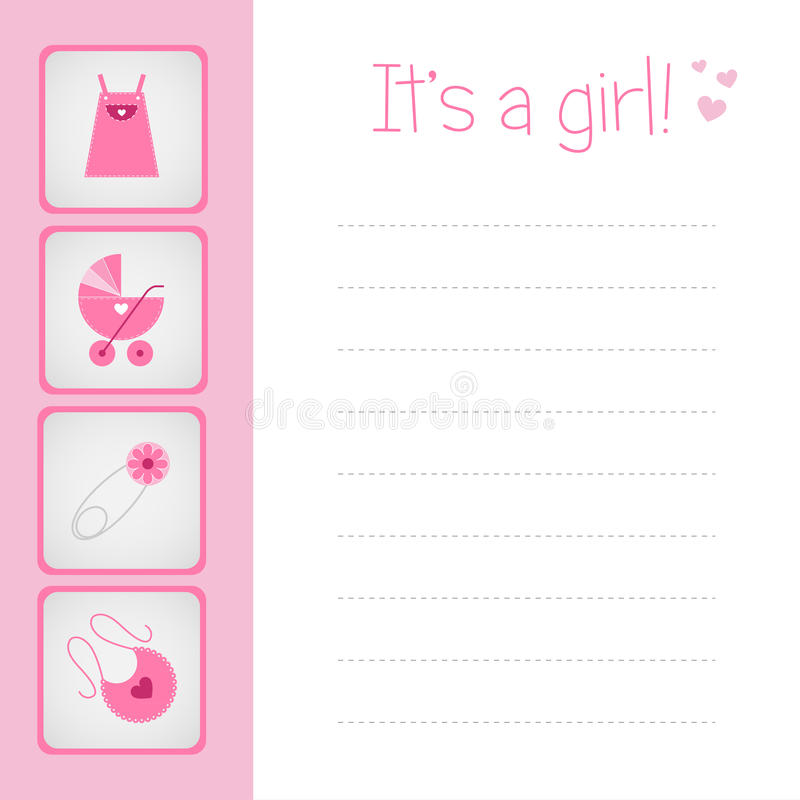 κορίτσι καρτών μωρών άφιξης Στοκ Εικόνες