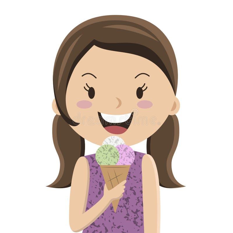 Κορίτσι κινούμενων σχεδίων που τρώει την κορνέτα παγωτού απεικόνιση αποθεμάτων