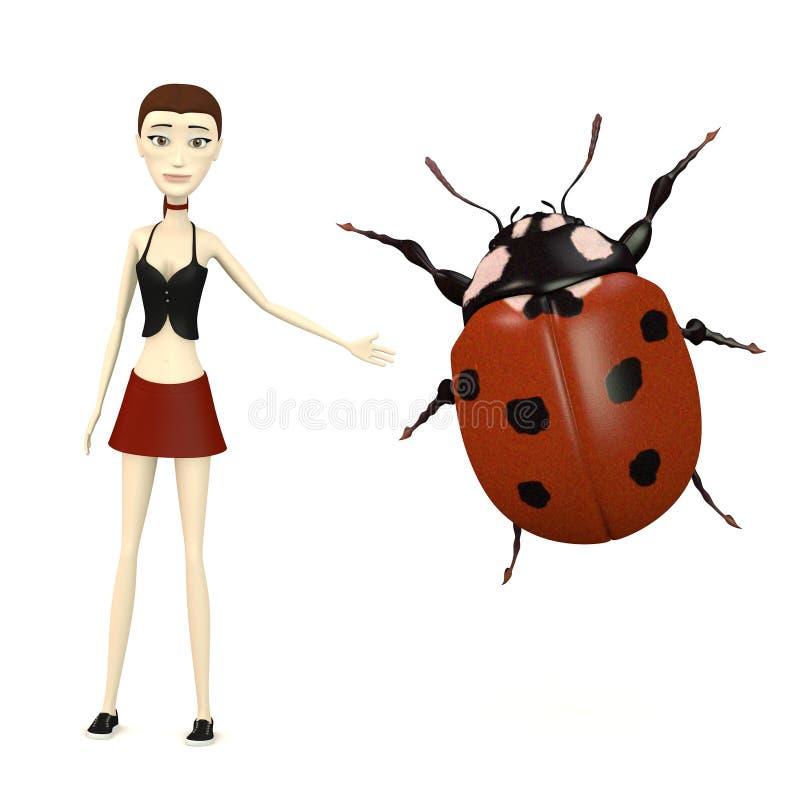 Κορίτσι κινούμενων σχεδίων με το ladybug απεικόνιση αποθεμάτων