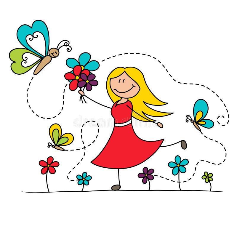 Κορίτσι κινούμενων σχεδίων που χορεύει με τις πεταλούδες ελεύθερη απεικόνιση δικαιώματος