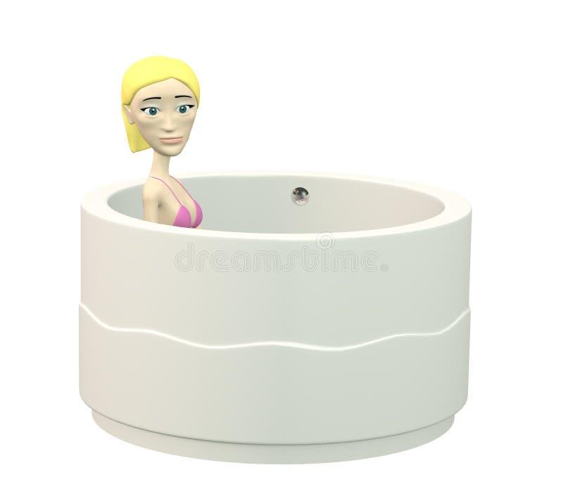 Κορίτσι κινούμενων σχεδίων στην μπανιέρα διανυσματική απεικόνιση