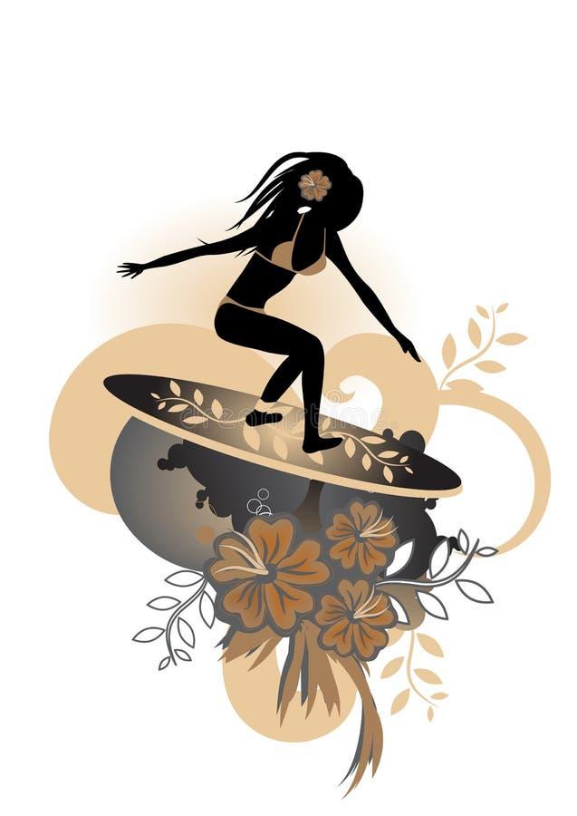 Κορίτσι -κορίτσι-surfer διανυσματική απεικόνιση
