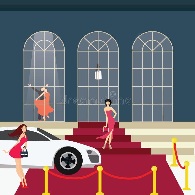 Κορίτσι κόκκινου χαλιού από το κόμμα γοητείας αυτοκινήτων διανυσματική απεικόνιση