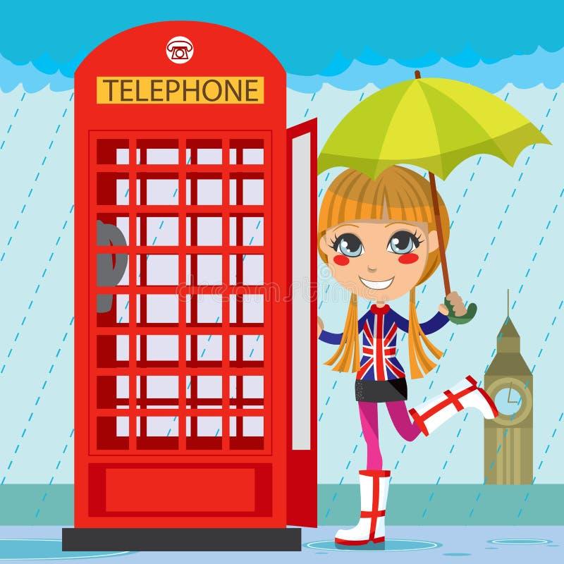 κορίτσι Λονδίνο διανυσματική απεικόνιση