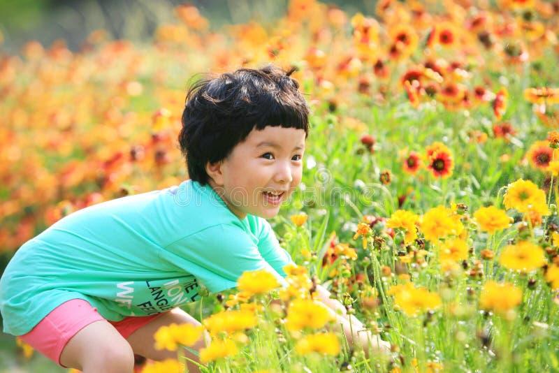 κορίτσι λουλουδιών ευτυχές λίγη επιλογή στοκ φωτογραφίες με δικαίωμα ελεύθερης χρήσης