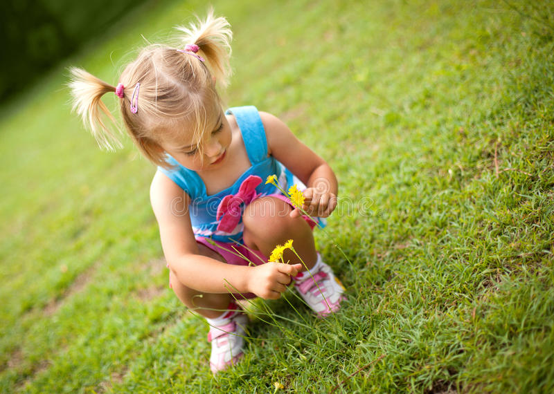 κορίτσι λουλουδιών λίγη επιλογή στοκ φωτογραφία με δικαίωμα ελεύθερης χρήσης