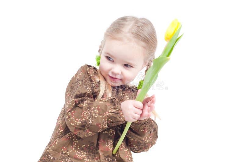 κορίτσι λουλουδιών λίγ&a στοκ φωτογραφία με δικαίωμα ελεύθερης χρήσης