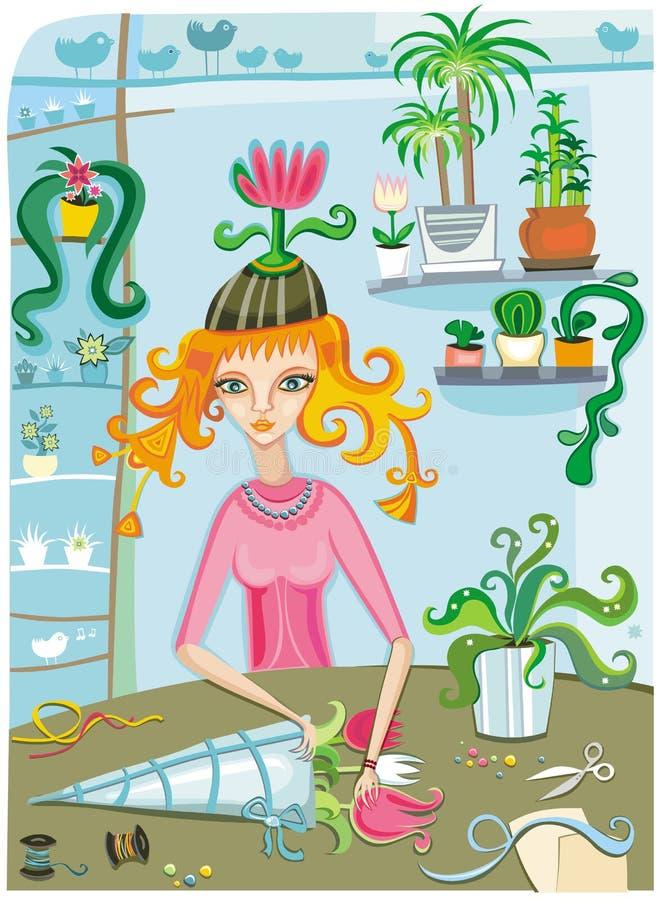 κορίτσι λουλουδιών απεικόνιση αποθεμάτων
