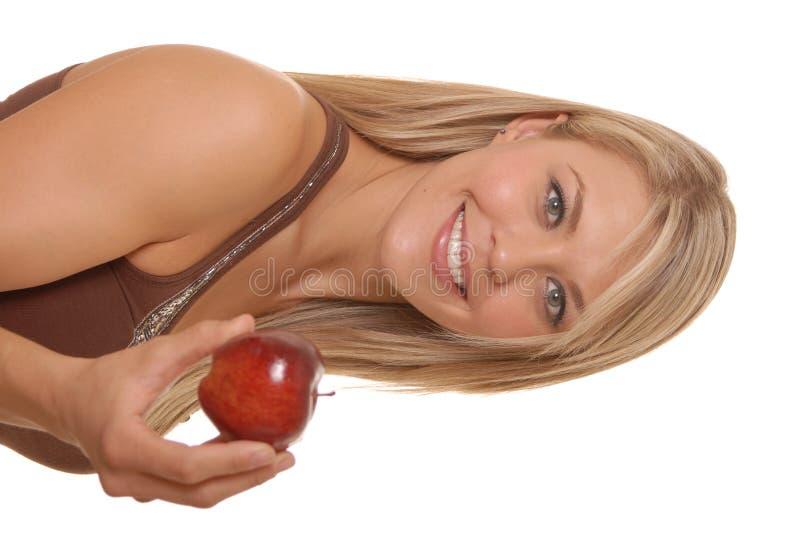 κορίτσι μήλων καλό στοκ εικόνες