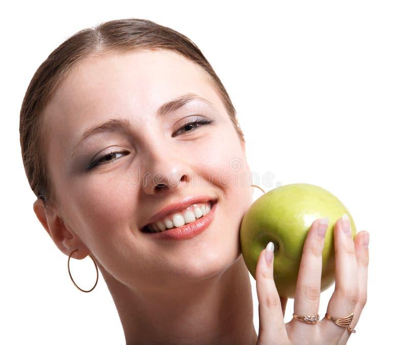 κορίτσι μήλων στοκ εικόνες