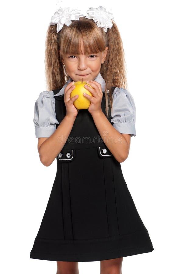 κορίτσι μήλων λίγα κίτρινα στοκ φωτογραφίες