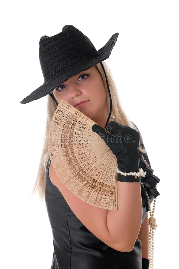 Κορίτσι με έναν ανεμιστήρα στοκ εικόνα με δικαίωμα ελεύθερης χρήσης