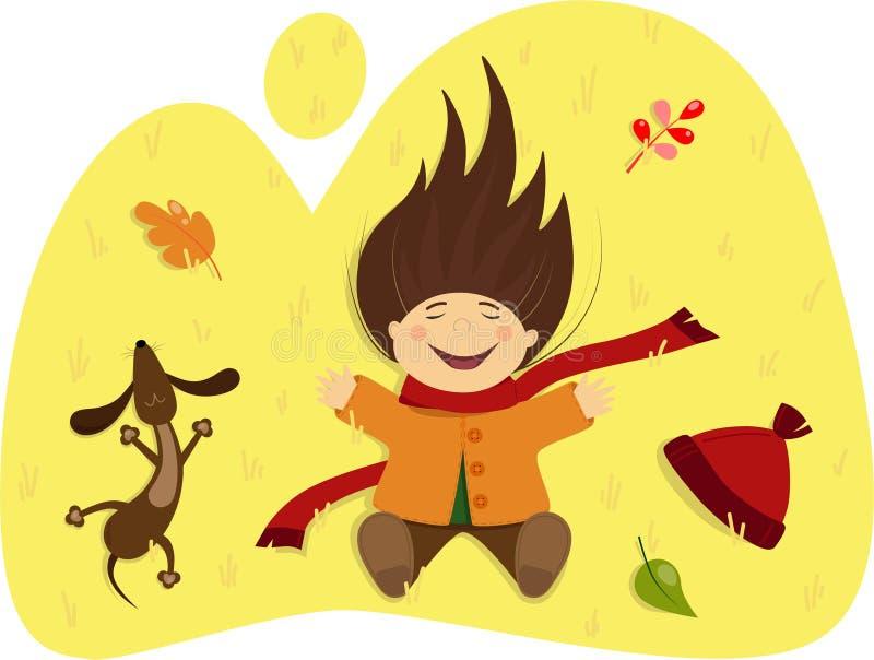 Κορίτσι με ένα σκυλί που βρίσκεται στη χλόη φθινοπώρου ελεύθερη απεικόνιση δικαιώματος