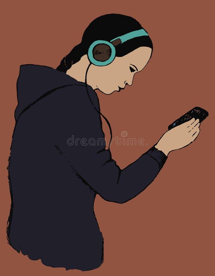 Κορίτσι με ένα smartphone διάνυσμα στοκ εικόνα