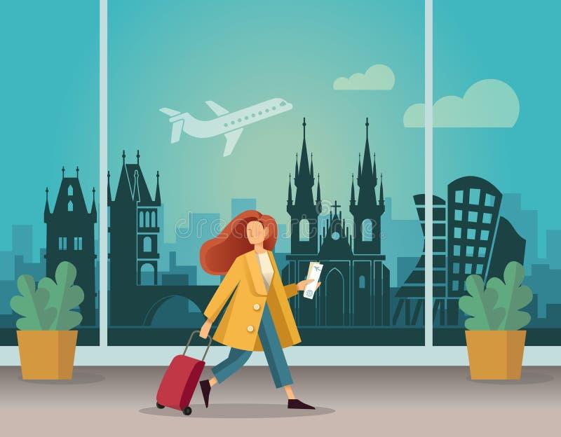 Κορίτσι με μια βαλίτσα στον αερολιμένα στην Πράγα Λεπτομερής διανυσματική απεικόνιση στο επίπεδο ύφος απεικόνιση αποθεμάτων