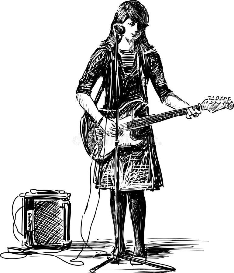Κορίτσι με μια κιθάρα ελεύθερη απεικόνιση δικαιώματος