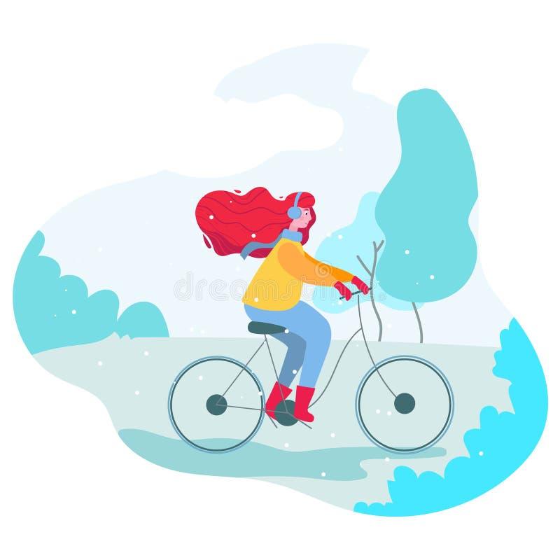 Κορίτσι με ποδήλατο στο χειμερινό πάρκο στοκ φωτογραφία με δικαίωμα ελεύθερης χρήσης