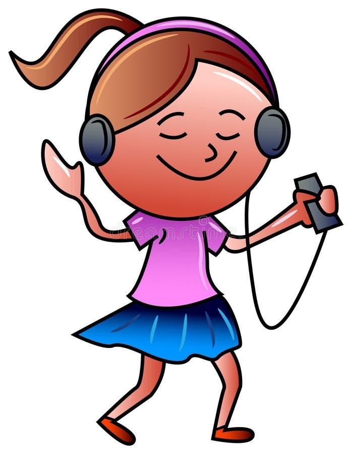 Κορίτσι με τα ακουστικά διανυσματική απεικόνιση