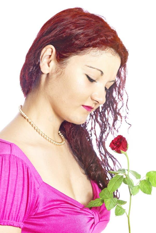 Κορίτσι με τα τριαντάφυλλα στοκ εικόνα