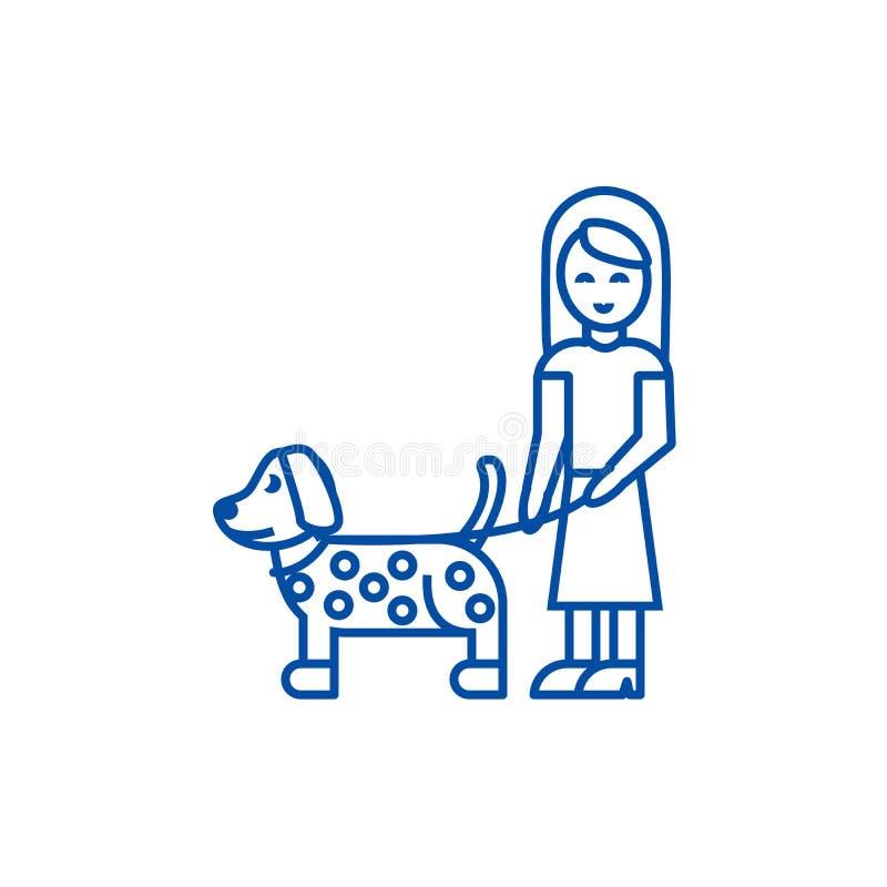 Κορίτσι με την έννοια εικονιδίων γραμμών σκυλιών Κορίτσι με το επίπεδο διανυσματικό σύμβολο σκυλιών, σημάδι, απεικόνιση περιλήψεω ελεύθερη απεικόνιση δικαιώματος