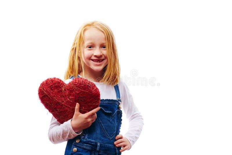 Κορίτσι με την καρδιά στοκ εικόνα με δικαίωμα ελεύθερης χρήσης