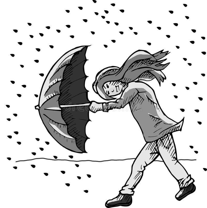Κορίτσι με την ομπρέλα στη θύελλα βροχής διανυσματική απεικόνιση