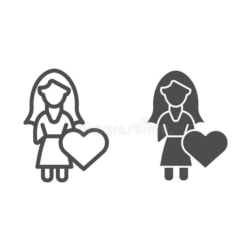 Κορίτσι με τη γραμμή και glyph το εικονίδιο καρδιών Νέων κοριτσιών απεικόνιση που απομονώνεται διανυσματική στο λευκό Σχέδιο ύφου ελεύθερη απεικόνιση δικαιώματος