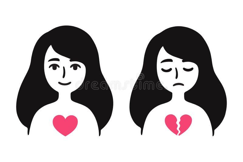 Κορίτσι με τη σπασμένη καρδιά ελεύθερη απεικόνιση δικαιώματος