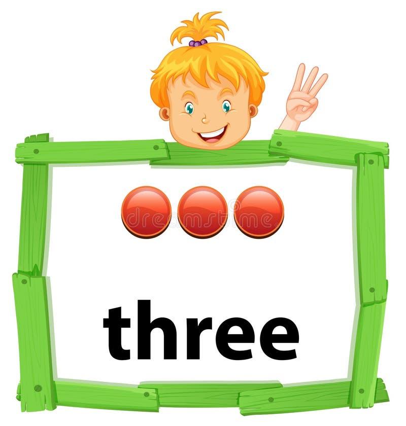 Κορίτσι με τον αριθμό τρία έμβλημα διανυσματική απεικόνιση