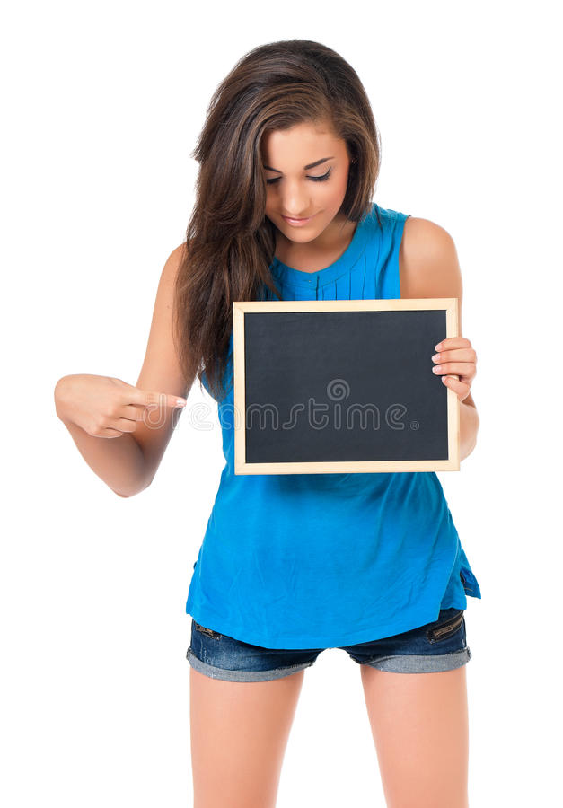 Κορίτσι με τον πίνακα στοκ φωτογραφία με δικαίωμα ελεύθερης χρήσης