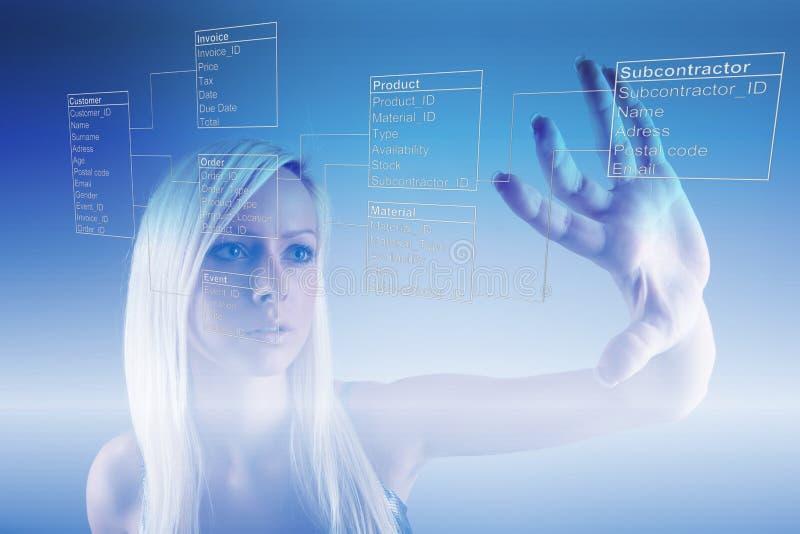 Κορίτσι με τους πίνακες βάσεων δεδομένων στοκ εικόνες