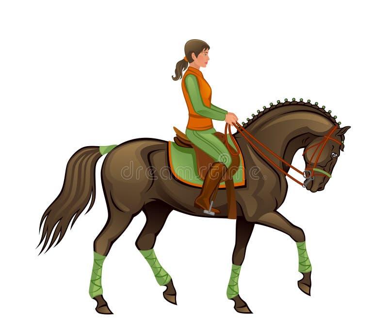 Κορίτσι με το άλογο διανυσματική απεικόνιση