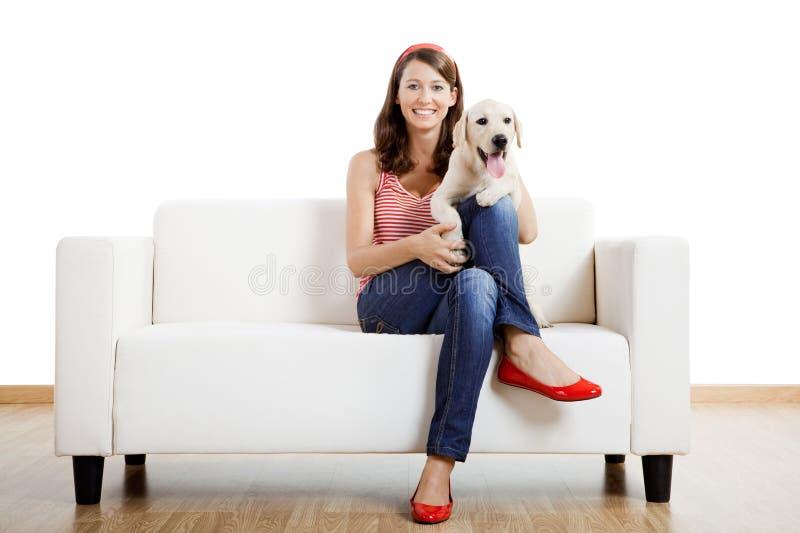 Κορίτσι με το καλύτερο φίλο της στοκ εικόνα