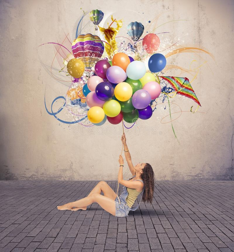 Κορίτσι με το μπαλόνι στοκ φωτογραφία με δικαίωμα ελεύθερης χρήσης