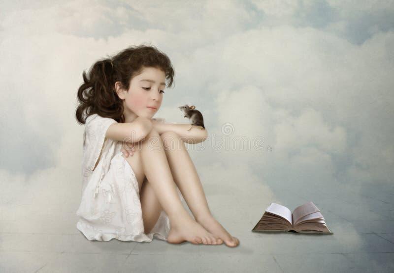 Κορίτσι με το ποντίκι διανυσματική απεικόνιση